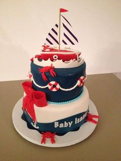 nautical baby shower cake 2