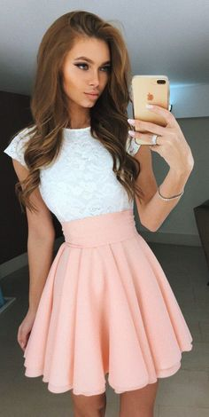 White Lace Homecoming Dresses,Pink Satin Homecoming Dresses,Short Mini Homecoming Dresses,Simple Graduation Dresses,Cocktail Dresses #homecomingdresses #SIMIBridal