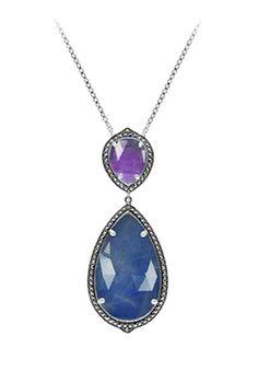 MARC Sterling Silver Blue & Lavender Jade Marcasite Necklace $129