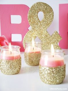 diy pink candles and glitter candle holders
