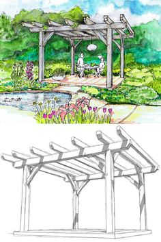 This DIY timber frame pergola plan is an easy project to create outdoor living space for your yard. It's a beginner's project using simple joinery. Diy Pergola, Corner Pergola, Pergola Ideas, White Pergola, Pergola Curtains, Modern Pergola, Patio Ideas, Garden Arbor, Garden Paths
