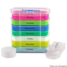 Pill Organizer Box - Weekly Case with Pill Splitter Cutter – Holder –Large Travel Medication Reminder Daily Am PM, Day Night Compartments 7 Day–Medicine Dispenser Twice, 4 Times a Day Business Industrial Medical Medical Furniture Medical Cabinets Weekly Pill Organizer, Organiser Box, Food Containers, Orange, Storage Organization, Storage Boxes, Organizing, Health And Beauty, Medicine