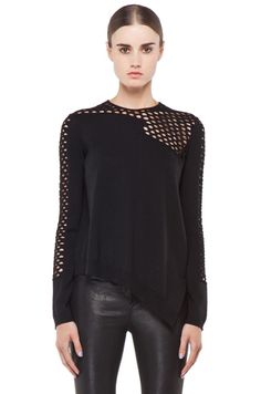Alexander Wang Magnified Fishnet Asymmetrical Pullover in Black