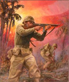 USMC PACIFIC WWII -OKINAWA by James V Griffin Oil ~ 24 inches ( 61cm ) x 20 inches ( 50.8cm )