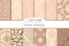 Nude Damask Digital Paper by Avenie Digital on @creativemarket