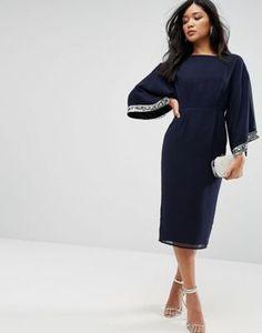 e90753fd64518 ASOS Kimono Trim Embellished Midi Dress| #asos #Dress #Sponsored Navy Blue  Party