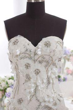 Romantic Trumpet-Mermaid Sweetheart Dropped Train Tulle Ivory Sleeveless Zipper Wedding Dress with Beading h5jc0088 #weddingdress #cocomelody