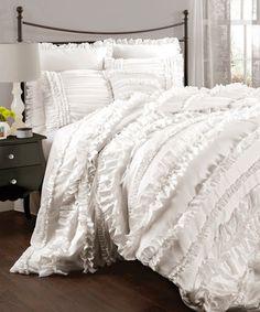 Look at this #zulilyfind! White Belle Comforter Set by Lush Décor #zulilyfinds