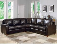 Charles Schneider Natalie Brown Leather Sectional Sofa - traditional - sectional sofas - by Hayneedle