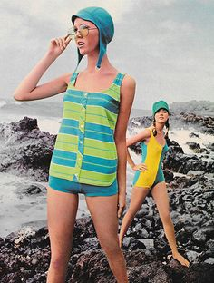 """Seventeen magazine, June """"Blue and green stripes: A horizontal crossing on an Orlon tank top, shirttailed to pull way down over your hips. 60s And 70s Fashion, Mod Fashion, Vintage Fashion, Fashion Brands, Mode Vintage, Vintage Ladies, Colleen Corby, Seventeen Magazine, Vintage Swimsuits"""