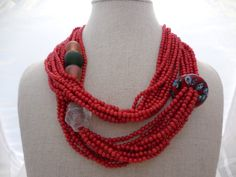 IN STOCK... Beautiful 9 Strand 38 Fire Coral Necklace by GloVanGo