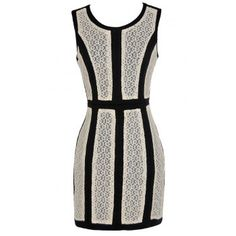 On The Panel Black and Ivory Lace Pencil Dress - DRESSES
