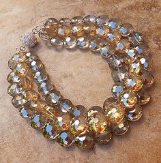 GOLD GREY CRYSTAL NECKLACE CZECH GLASS PAGEANT BRIDAL BIG JEWELRY RHINESTONE CLP