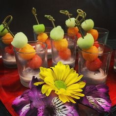 Melon ball shooters - the perfect hors d'oeuvres for a summer wedding cocktail hour!