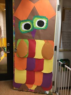 Owl door decorations for fall.
