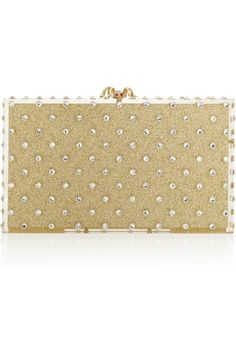 Charlotte Olympia|Let It Shine Pandora embellished glittered Perspex box clutch