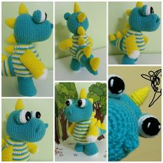 Perfect for a boy - My completed project - dinosaur amigurumi with pattern from http://fany-crochet.blogspot.com.ar/2013/11/dino-dino-colrido.html?m=1