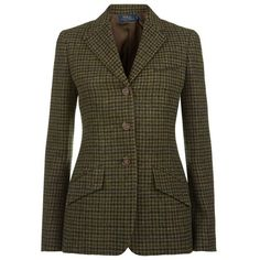 Polo Ralph Lauren Wool Tweed Blazer ($605) ❤ liked on Polyvore featuring outerwear, jackets, blazers, wool jacket, tweed blazer, brown jacket, brown tweed jacket and brown blazer