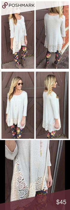 2 DAY SALE! Oatmeal Lace Tunic This oatmeal Lace Tunic pairs perfectly with the charcoal floral leggings I also have listed! Classic, chic, and super comfortable. 95% Rayon 5% Spandex. Reasonable offers welcomed. 20% off bundles. Infinity Raine Tops Tunics