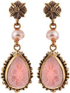Stephen Dweck Carved Rock Crystal Earrings in Pink (gold)