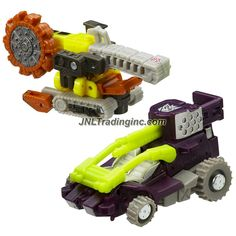 Hasbro Year 2005 Transformers Cybertron Series 2 Pack Mini-Con Class 2-1/2 Inch Tall Robot Action Figure - Decepticon KOBUSHI (Vehicle Mode: Lunar Buggy) Versus Autobot LANDSLIDE (Vehicle Mode: Bucket Wheel Excavator)