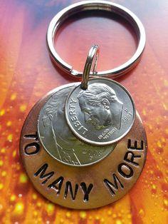 10th Wedding Anniversary Gift Personalized Keychain 10 Years