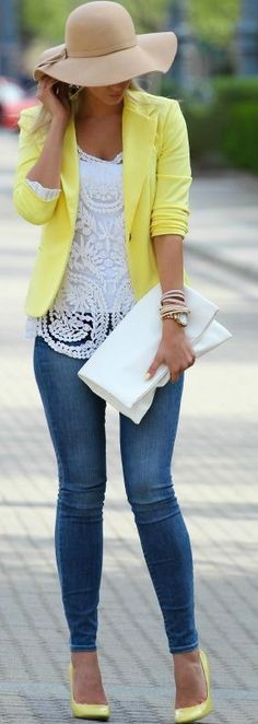 I love the lace top underneath and the bright color of the yellow jacket. Like the white shirt under the lace so it isn't too revealing.