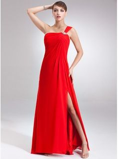 Empire One-Shoulder Floor-Length Chiffon Holiday Dress With Ruffle Beading Split Front (020026009) - JJsHouse