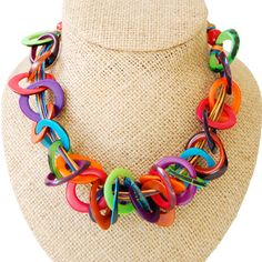 Picarones - Multicolors by ladymosquito: Made of South American tagua nuts. #Necklace #ladymosquito