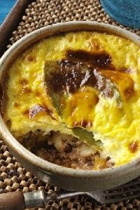 BOBOTIE  South Africa's national dish, traditionally made with beef or lamb mince and a baked custard topping. Other variants include a fish and vegetarian alternative. Interestingly this dish has its roots in Europe – think Greek moussaka. Turmeric was introduced to Europe in the middle ages by the crusaders. On the old Cape and Karoo farms, this dish was traditionally made with the leftover meats from the Sunday roast.