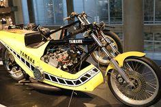 OldMotoDude: 1974 Yamaha TZ750 Drag Bike on display at the Barb...