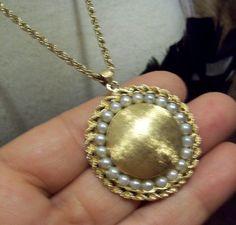 Vintage Solid 14k Gold Pearls Round Locket Pendant Chain 1 5oz 42g not Scrap | eBay