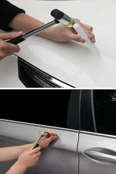 Luxury Lifestyle : Get Dents out of Your Car With The metal rod and rubber knockdown method. Car Cleaning Hacks, Car Hacks, Remove Dents From Car, Auto Body Repair, Car Repair, Vehicle Repair, Repair Shop, Auto Body Work, Car Fix