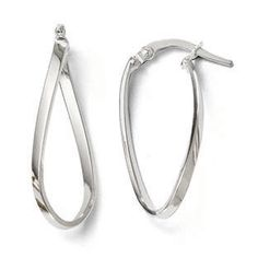 Polished Oval Twisted Hinged Hoop Earrings In 14K White Gold Gemologica.com offers a #unique #simple selection of #gold #earrings for #women. Collection includes #stud #hoop #dangle #drop #styles #Jewelry crafted in 10K 14K 18K #yellow #rose #white #two-tone #tri-tone #metal. Shop #Gemologica #jewellery now for #handmade #fashion #fine #custom #style jewelry