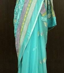Mermaid Blue Georgette Saree georgette-saree @ www.mirraw.com