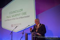 business-awards-event-photography | Paul Murphy Lord Mayor of Manchester addressing the Awards for Excellence | Commercial Photography North West