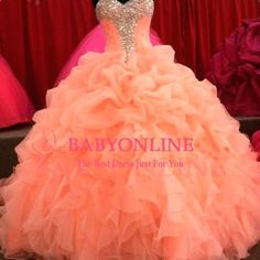 Details about 2016 Coral Sexy Quinceanera Formal Prom Party Ball Gown Custom All…