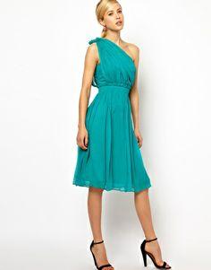 Enlarge Mango Chiffon Drape One Shoulder Dress