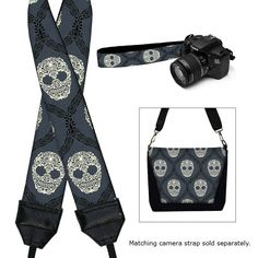 Digital SLR Camera Bag Dslr Camera Bag Purse Womens Camera Bag Case - Paisley Skulls Damask black gray