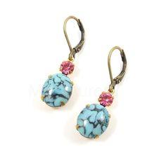 Turquoise Blue Stone Earrings - Pink Swarovski Crystals on Bronze Hooks Free Shipping Etsy - Under 25. $22.00, via Etsy.