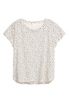 Natural white/Spotted. T-shirt in lightweight cotton jersey with a rounded hem. Slightly longer at the back.