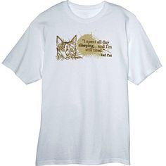 Sad Cat is Tired from Sleeping All Day Funny Novelty T-Shirt Z13622 - Rogue Attire