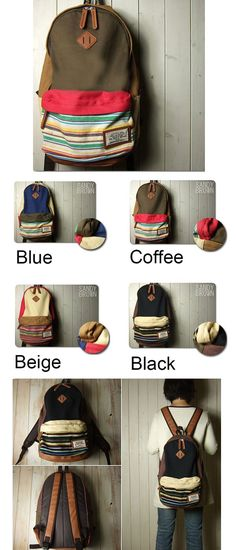 Folk Style Mixing Color Stripe Print Canvas Backpack only $35.99