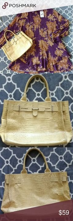 Authentic pre-loved Furla handbag beige croc color Furla handbag beige croc color Conditon: Authentic, preloved bag.  Outside of the bag shows normal wear, but no damage, holes or stains.  Handles have little discoloration - please see the pics. Ivory color interior of the bag shows some wear, it has some dirt and few pink pen marks.  Nice condition, practical. Very popular style, little similar to Birkin bag. fiu Furla Bags
