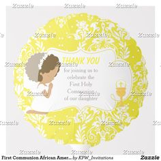 Shop First Communion African American Yellow Damask Balloon created by KPW_Invitations. Dark Skin Boys, Helium Gas, Photo Balloons, First Communion Invitations, Balloon Shapes, Custom Balloons, First Holy Communion, Brunette Girl, Invitation Design