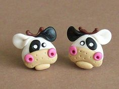 Cows earrings polymer clay fimo handmade by CreationsbyMD on Etsy, $5.00