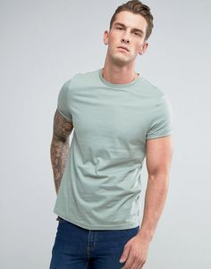 ASOS T-Shirt With Crew Neck And Roll Sleeve In Green - Green