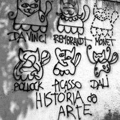 #davinci #pollock #rembrandt #monet #picasso #dali #art #streetart #cats #kittens #cat #black #white #bw #paint #painting #spraypaint #spraycan #wall #dark #night #day #light #cool #abstract