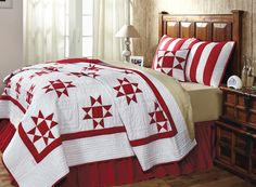 Carolina Bedding from Oma's Quilts: http://www.omasquilts.com/store/c/61-Carolina-Red-and-White-Ohio-Star-Quilt-Collection.aspx. See more country products such as these in the September 2015 issue of Country Sampler: https://www.samplermagazines.com/detail.html?prod_id=174&cat_id=8&source=PIN-FP0915