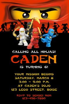Lego NINJAGO Ninja Birthday Party Invitation by twotwelvedesigns, $5.50